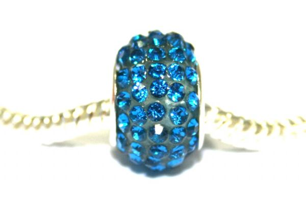 Sky blue 12mm x 8mm Pave crystal bead with 5mm hole PD-S-12- 26
